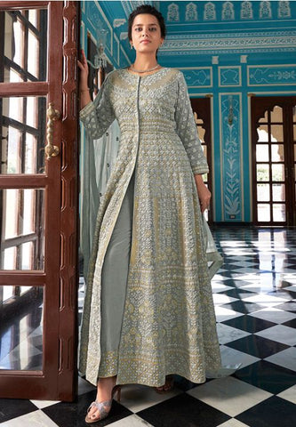 Designer Grey Long Readymade Anarkali Suit APRYD786 - Siya Fashions