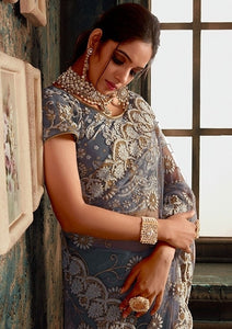 Designer Grey Net Zarkan Work Saree SIYA831YDS - Siya Fashions