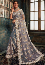 Load image into Gallery viewer, Designer Grey Net Zarkan Work Saree SIYA831YDS - Siya Fashions