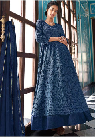 Designer Long Blue Readymade Anarkali Suit APRYD783 - Siya Fashions