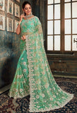 Designer Mint Green Net Zarkan Work Saree SIYA832YDS - Siya Fashions