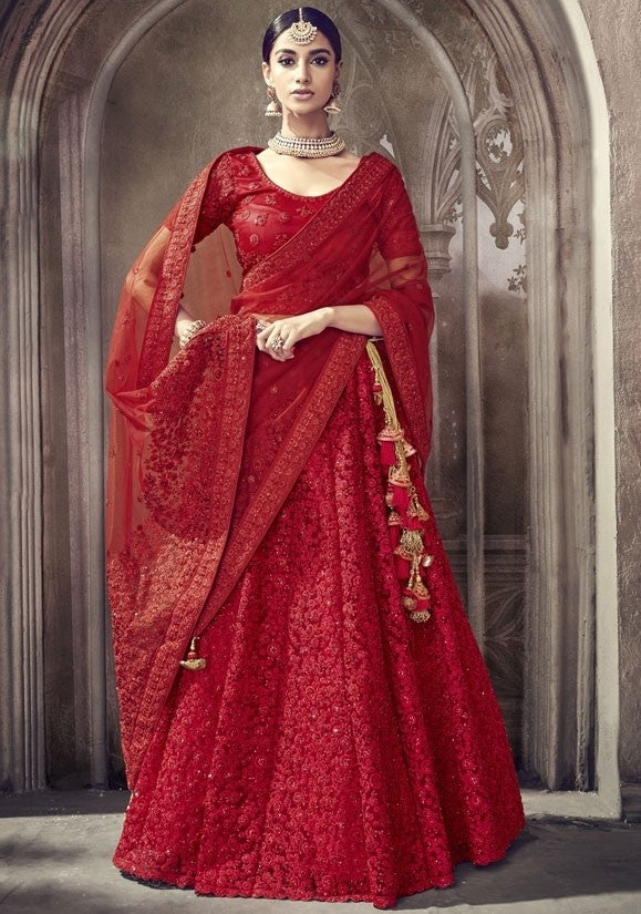 Designer Bridal Red Lehenga Choli In Net SFYD2298