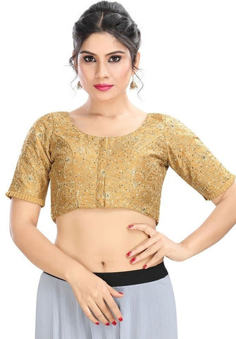 Designer Dupion Silk Gold Blouse Top SF12EXP - Siya Fashions