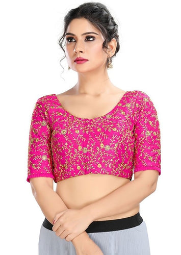 Designer Dupion Silk Pink Blouse Top SF4EXP - Siya Fashions