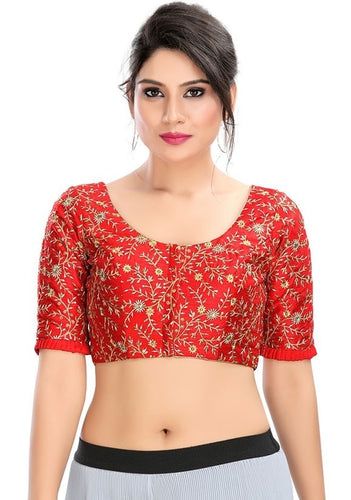 Designer Dupion Silk Red Blouse Top SF5EXP - Siya Fashions