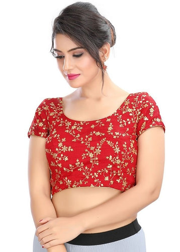 Designer Dupion Silk Red Gold Blouse Top SF6EXP - Siya Fashions