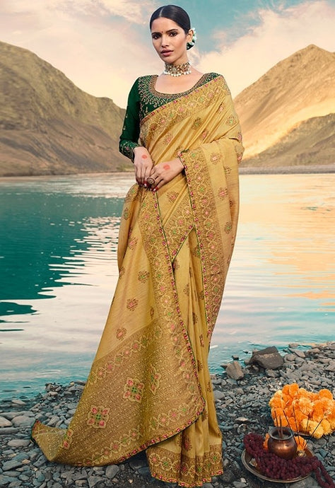 Designer Fawn Weaving Raw Silk Fabric Saree SY65792 - Siya Fashions