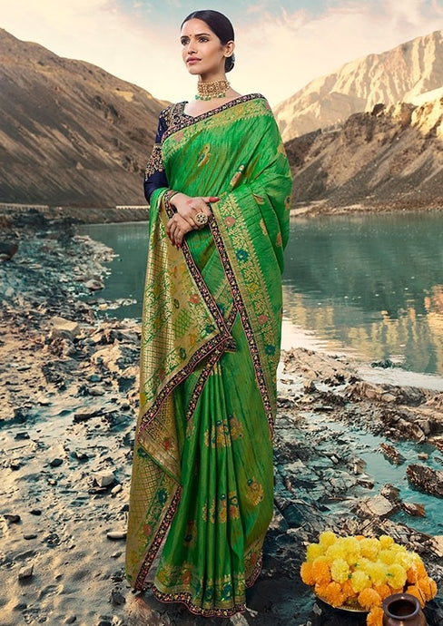 Designer Green Color Weaving Raw Silk Fabric Saree SY65809 - Siya Fashions