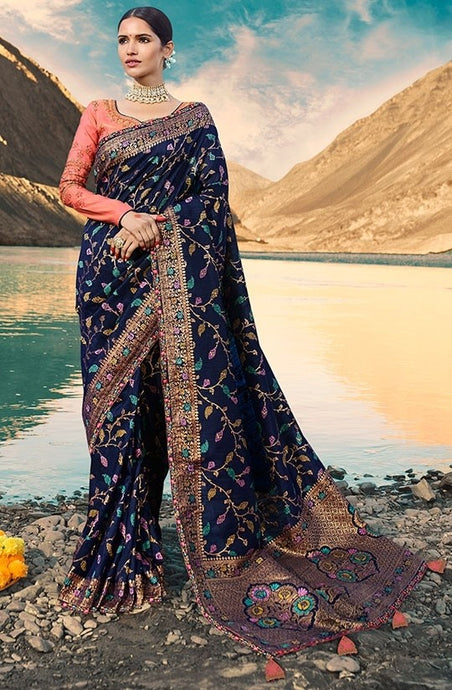 Designer Navy Blue Weaving Raw Silk Fabric Saree SY65784 - Siya Fashions