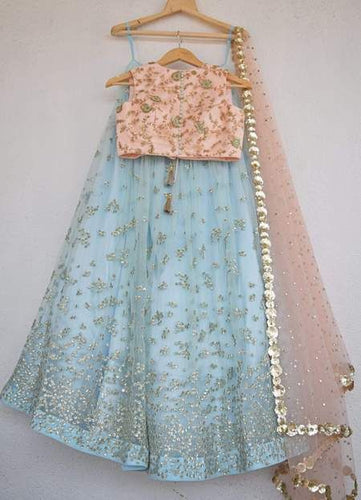Designer Net Blue Lehenga Skirt Peach Top SIYA3901