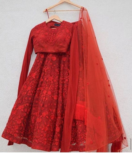 Designer Net Red Lehenga Skirt Red Top SIYA29INS