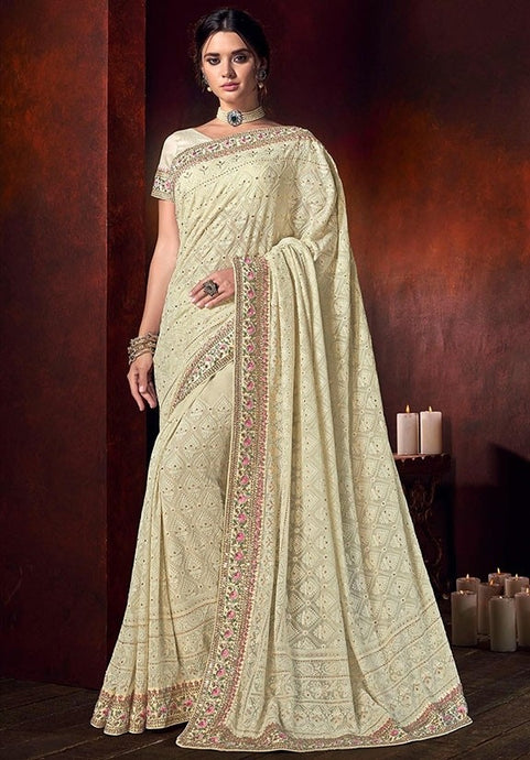 Designer Partywear Cream Color Saree 6547SY - Siya Fashions
