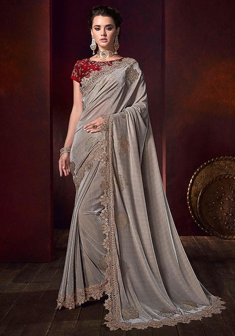 Designer Partywear Dusty Grey Color Saree 6535SY - Siya Fashions