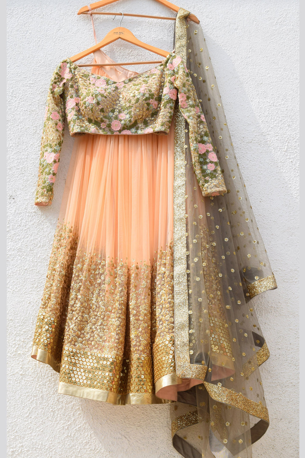 Designer Peach Net Sequin Prom Party Lehenga SF00IN - Siya Fashions