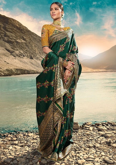 Designer Pine Green Weaving Raw Silk Fabric Saree SY65805 - Siya Fashions