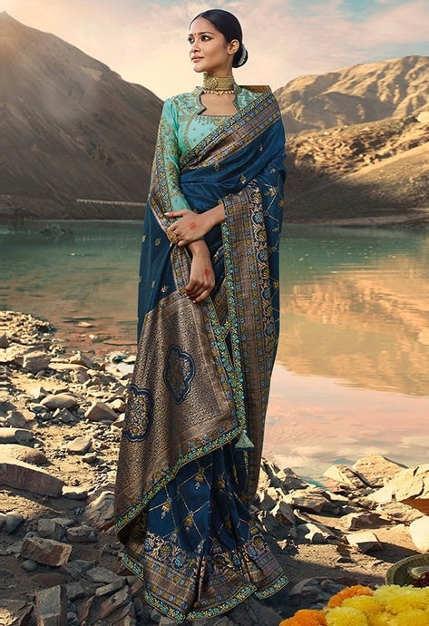 Designer Prussian Blue Weaving Raw Silk Fabric Saree SY65796 - Siya Fashions