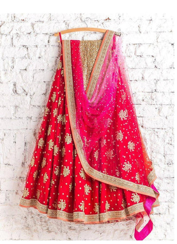Designer Wedding Orange Red Art Silk Lehenga SFIN0091 - Siya Fashions