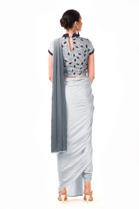 Dhoti Style Saree In Grey SFAX0092 - Siya Fashions