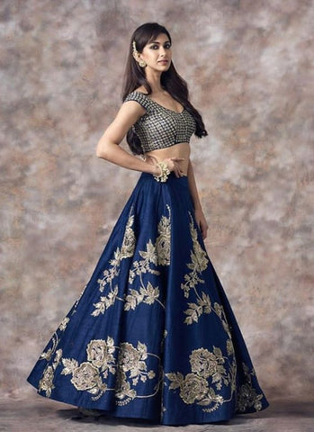 Diva Party Lehenga Navy Blue With Zari Work SFIN0904 - Siya Fashions