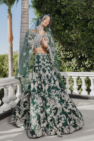 Dulhan Green Bridal Wedding Haute Silk Lehenga LBRIDAL421 - Siya Fashions