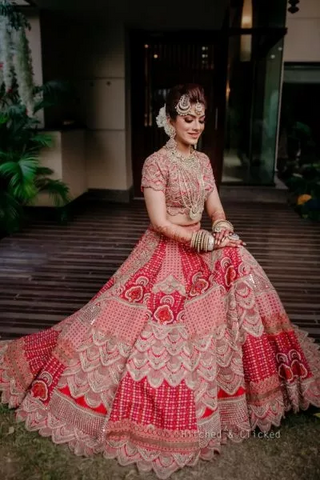 Red Pink Bridal Dulhan Wedding Haute Couture Silk Lehenga DULHAN54 - Siya Fashions