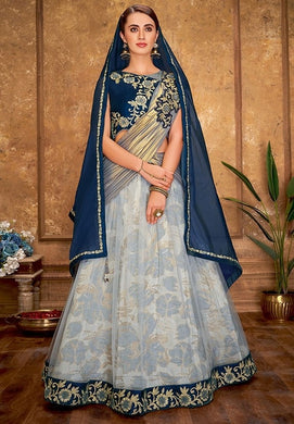 Engagement Blue Jacquard Net Silk Lehenga Choli SFYDS096BR