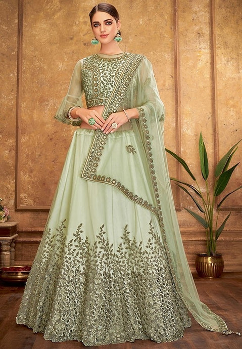 Engagement Green Silk Lehenga Choli SFYDS0944BR - Siya Fashions
