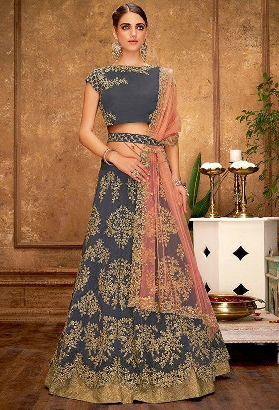 Engagement Grey Silk Lehenga Choli SFYDS0942BR - Siya Fashions