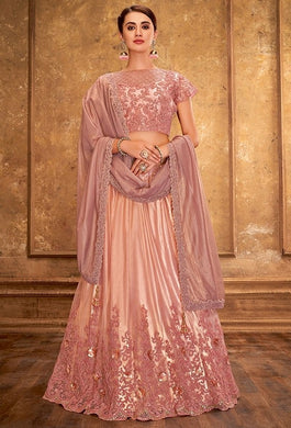 Engagement Pink Satin Silk Lehenga Choli SFYDS0945BR