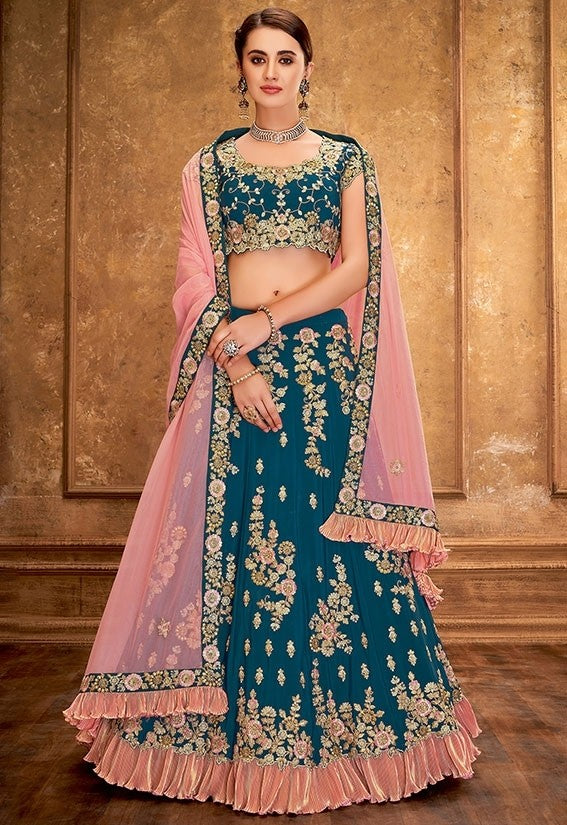 Engagement Teal Silk Lehenga Choli SFYDS0943BR - Siya Fashions