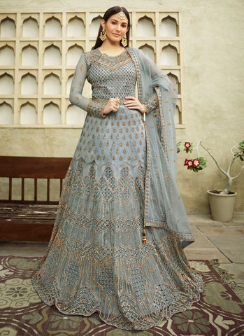 Entice Bridal Grey Long Anarkali Gown In Net APRFZ659 - Siya Fashions
