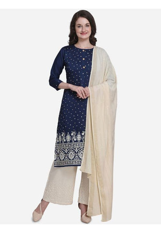 Evening Wear Blue Silk Mix Blended Palazzo Kameez Suit SFPL55 - Siya Fashions