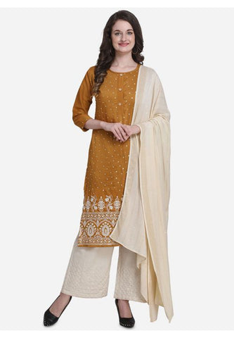 Evening Wear Mustard Yellow  Silk Mix Blended Palazzo Kameez Suit SFPL54 - Siya Fashions