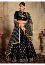 Load image into Gallery viewer, Evident Black Indian Lehenga Choli Evening Party Wear Brocade Lehenga SF90PRT
