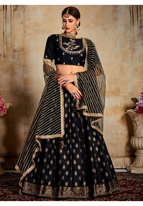 Evident Black Indian Lehenga Choli Evening Party Wear Brocade Lehenga SF90PRT
