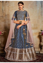 Load image into Gallery viewer, Evident Blue Indian Lehenga Choli Evening Party Wear Brocade Lehenga SF91PRT - Siya Fashions