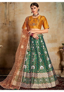 Evident Green Indian Lehenga Yellow Choli Evening Party Wear Brocade Lehenga SF92PRT