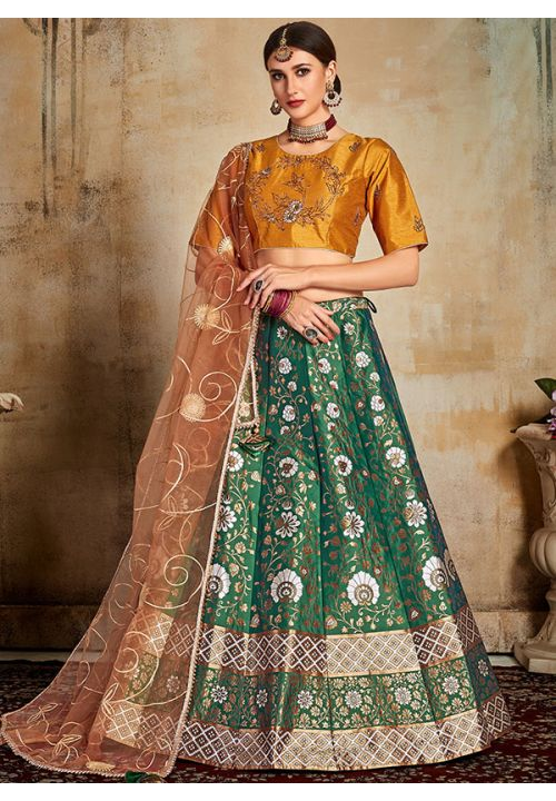 Evident Green Indian Lehenga Yellow Choli Evening Party Wear Brocade Lehenga SF92PRT - Siya Fashions