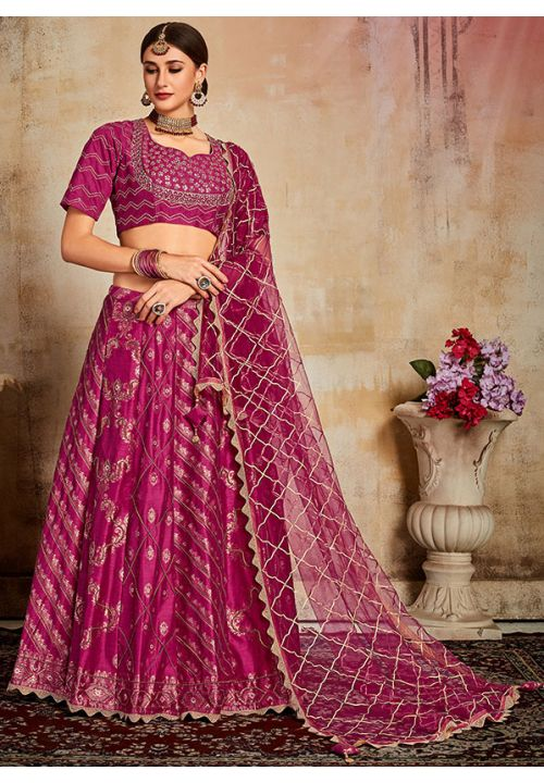 Evident Hot Pink Indian Lehenga Choli Evening Party Wear Brocade Lehenga SF93PRT - Siya Fashions