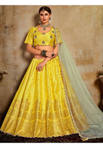 Evident Yellow Haldi Indian Lehenga Choli Evening Party Wear Brocade Lehenga SF94PRT