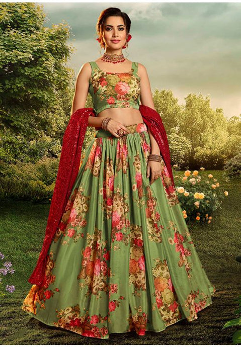 Fabulous Green Colour Organza Fabric Lehenga Choli SFY3227D - Siya Fashions