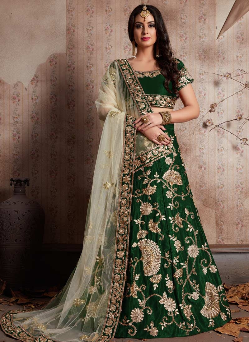 Fashionista Green Floral Zari Party Lehenga Choli In Velvet  SFPARTY892 - Siya Fashions