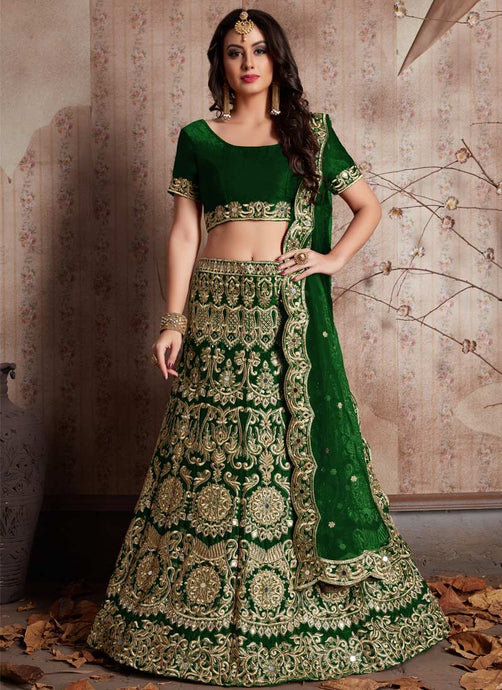 Fashionista Green Indian Party Lehenga Choli In Velvet Zari Work SFPARTY323 - Siya Fashions