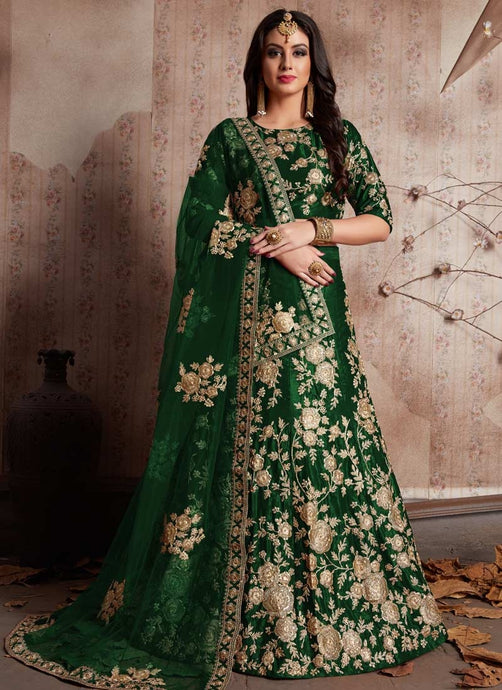 Fashionista Green Indian Party Lehenga Choli In Velvet Zari Work SFPARTY890 - Siya Fashions