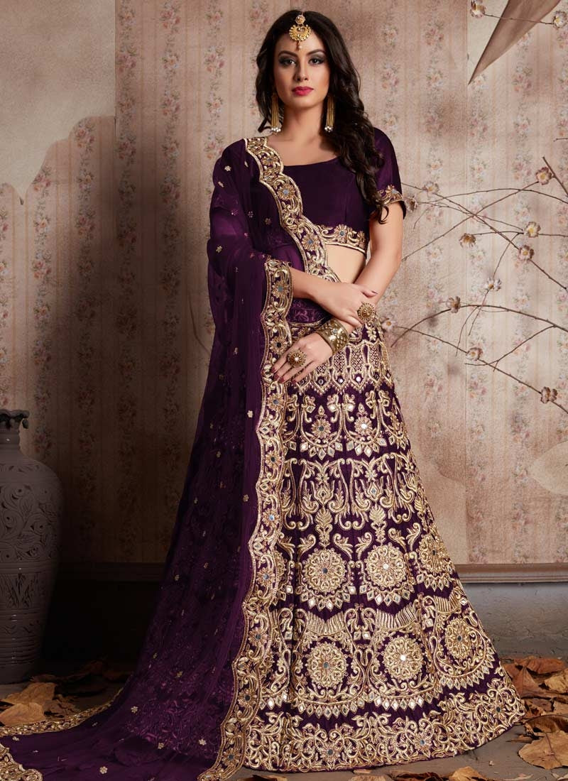 Fashionista Purple Indian Party Lehenga Choli In Velvet Zari Work SFPARTY324