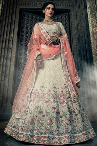 Floral Bridal White Lehenga In Georgette SF24BRI - Siya Fashions
