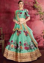 Load image into Gallery viewer, Floral Green Silk Spring Lehenga SF111YDS - Siya Fashions