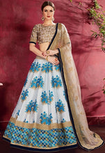 Load image into Gallery viewer, Floral Ice Blue Silk Spring Lehenga SF118YDS - Siya Fashions