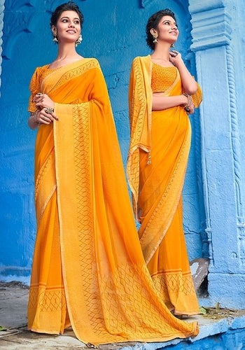 Florida Yellow Partywear Georgette Swarovski Saree SF16YD5 - Siya Fashions