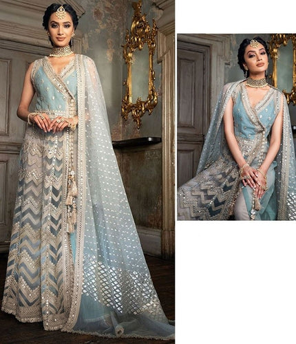 Fresh Grey Salwar Kameez Suit In Net SIYAYD1561 - Siya Fashions
